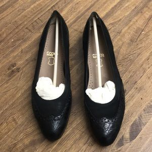 Size 7.5 Black Suede & Leather Flats